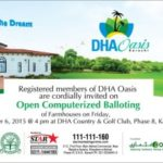 Balloting of DHA Oasis Karachi on 6th November 2015