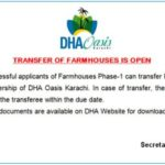 Transfer Opens for DHA Oasis Karachi (Farm Houses)